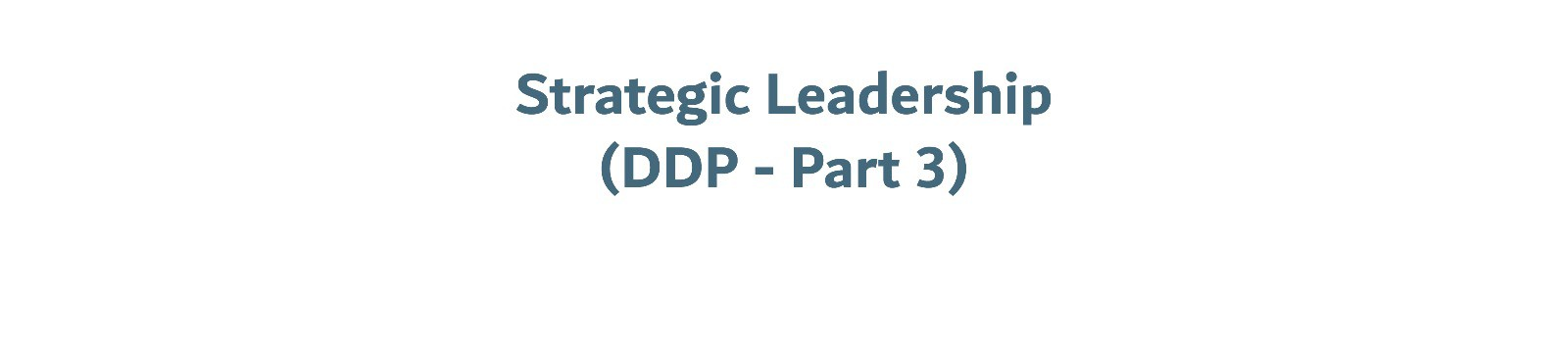 Strategic Leadership (Part 3 DDP)
